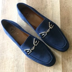 New Aquatalia Navy Suede Loafer Flat